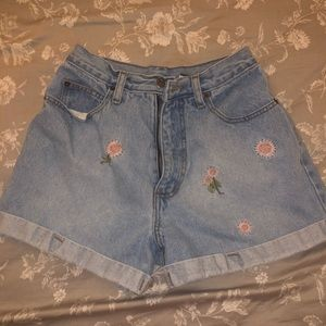 Vintage High-waisted Embroidered Jean Shorts